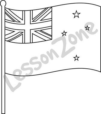 New Zealand, flag B&W