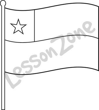 Chile, flag B&W