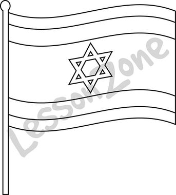 Israel, flag B&W