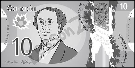 Canada, $10 note B&W