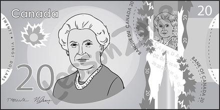 Canada, $20 note B&W