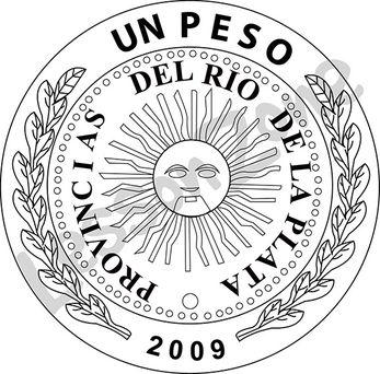 Argentina, $1 coin B&W