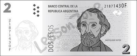 Argentina, $2 note B&W
