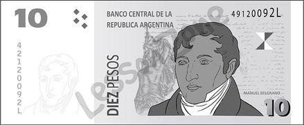 Argentina, $10 note B&W