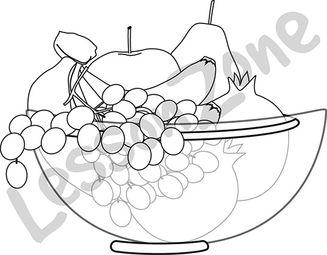 Bowl of fruit B&W