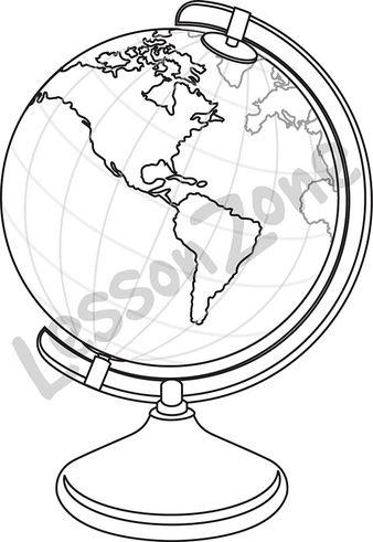 Globe showing America B&W