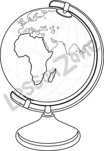 Globe showing Africa B&W