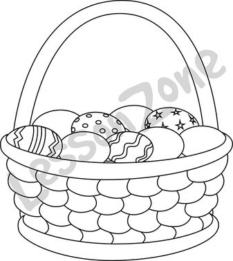Basket of Easter eggs B&W