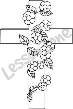 Crucifix with flowers B&W