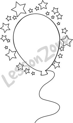 Balloon and stars  B&W