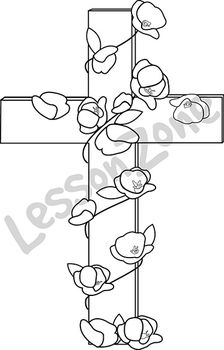 Cross with poppy B&W