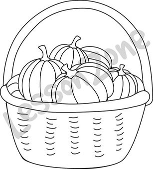 Basket of pumpkins B&W