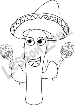 Cactus with sombrero and maracas B&W
