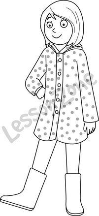 Girl in raincoat B&W