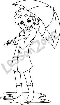 Girl with umbrella B&W