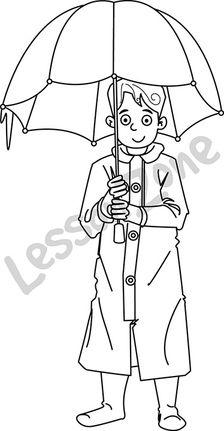 Boy with umbrella B&W
