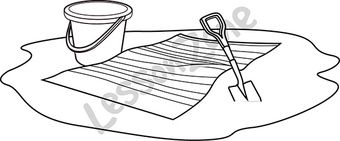 Beach towel with bucket and spade B&W