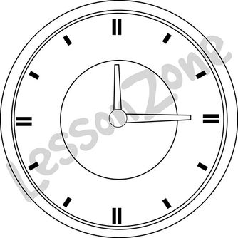 Clock face 1/4 hour B&W