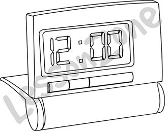 Digital clock face hour B&W