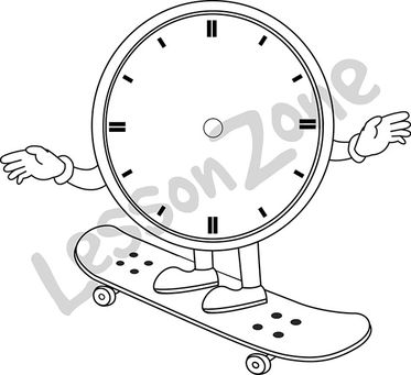 Clock face on skateboard B&W