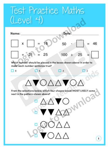 Test Practice Maths 1 (Level 4)