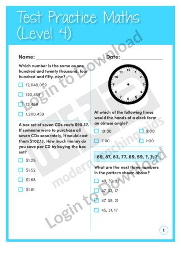 Test Practice Maths 2 (Level 4)