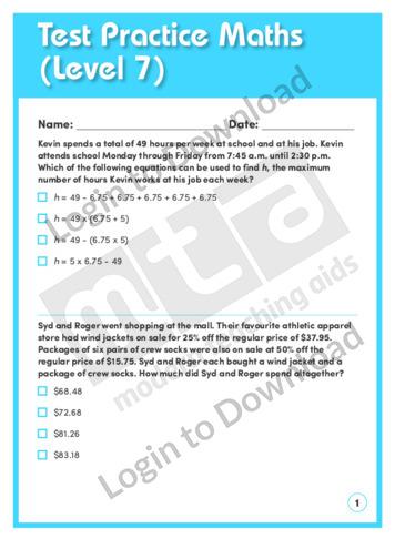 Test Practice Maths 1 (Level 7)