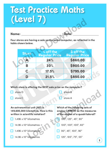Test Practice Maths 3 (Level 7)