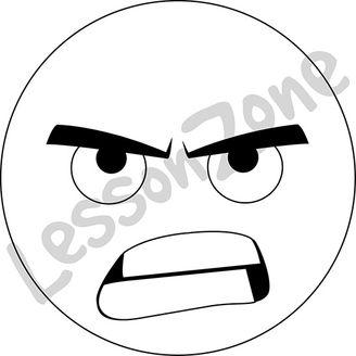 Emoticon angry B&W