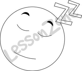 Emoticon asleep B&W
