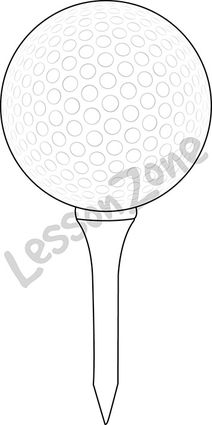 Golf ball on tee B&W