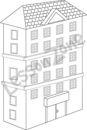 Large apartment building B&W