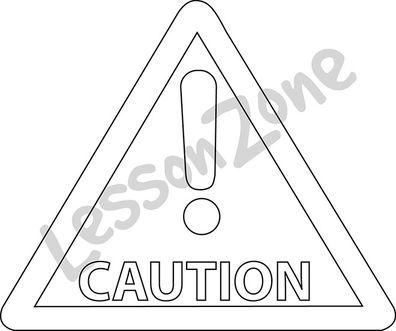 Caution sign B&W