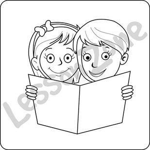 Buddy reading classroom icons B&W
