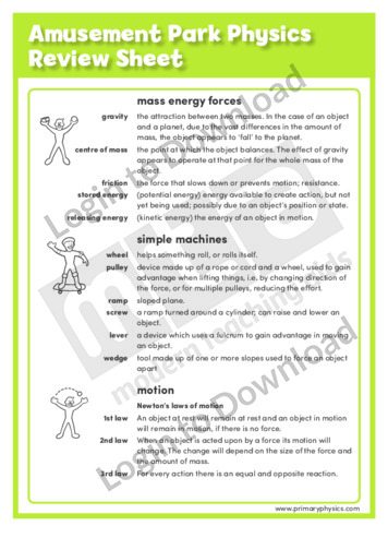 Amusement Park Physics Review Sheet