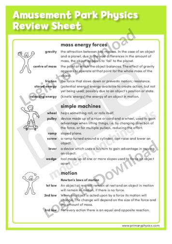 Amusement Park Physics Review Sheet