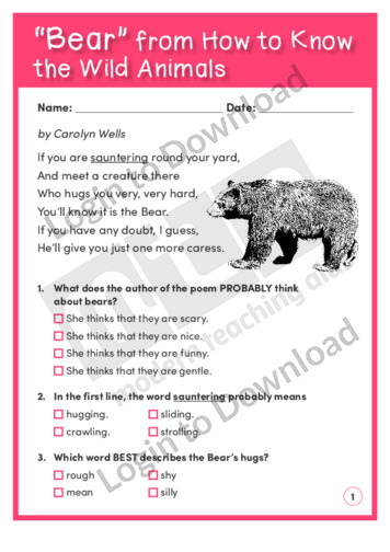 Bear, from How to Know the Wild Animals