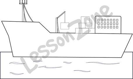 Cargo ship B&W
