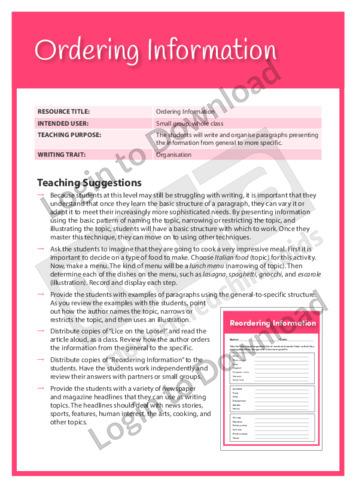 Organisation: Ordering Information