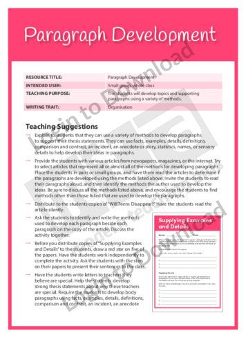 Organisation: Paragraph Development