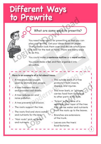Different Ways to Prewrite (Level 4)