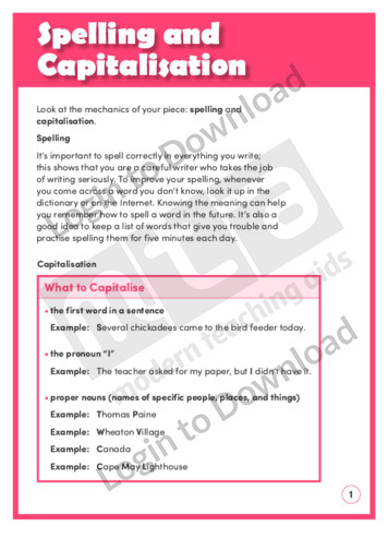Spelling and Capitalisation (Level 8)