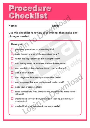 Procedure Checklist