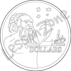 Australia, $2 coin B&W