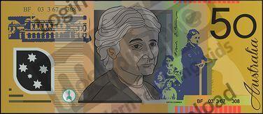 Australia, $50 note B&W