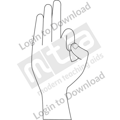 American Sign Language: F B&W