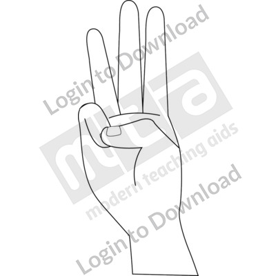 American Sign Language: W B&W