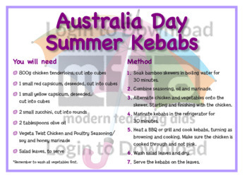 January Recipe: Australia Day Summer Kebabs