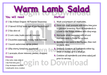 April Recipe: Warm Lamb Salad