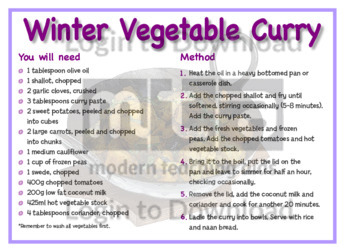 July Recipe: Winter Vegetable Curry
